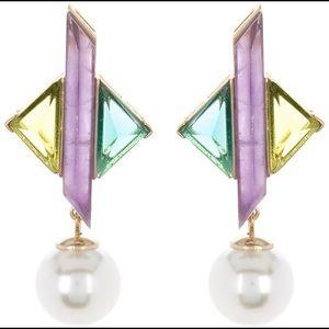 Carolee Geometric Stone & Pearl Drop Earrings